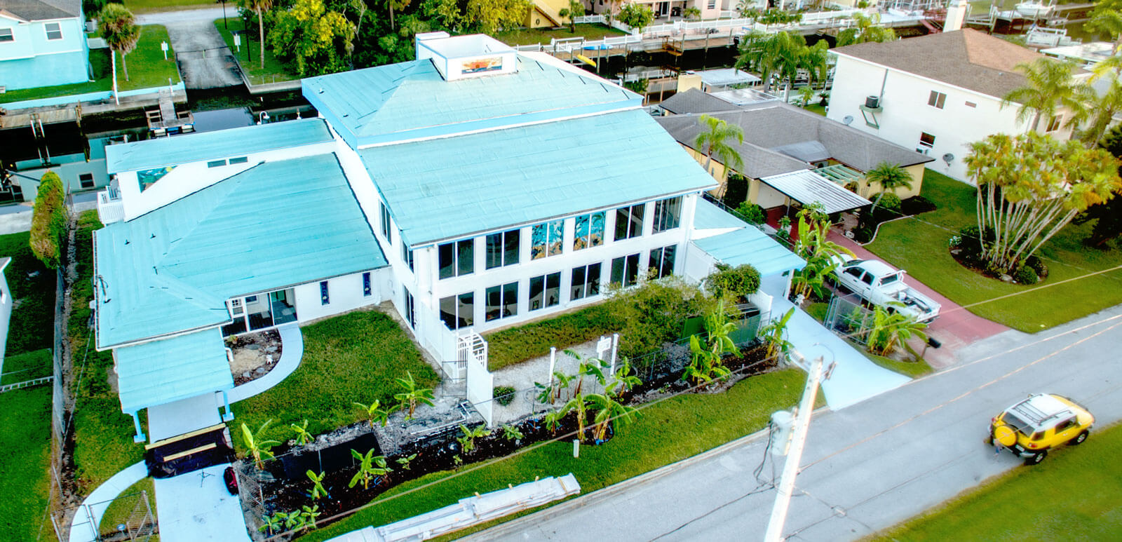Aerial Photo of metal roof installed in a large FL home